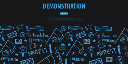 Demonstration, manifestation, protest, strike, revolution. Banner with hand-draw doodle elements on the background