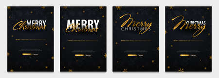 Set of Merry Christmas and Happy New Year banners. Dark background with gold snowflakes. Vector illustration
