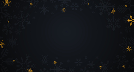 Gold Snowflakes on the dark background. Vector illustration