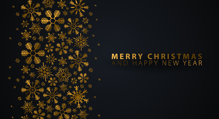 Merry Christmas and Happy New Year. Dark background with gold snowflakes. Vector illustration