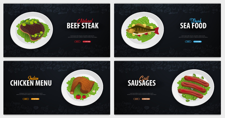 Set of meat Dishes. Beef, Fish, Chicken and sausages. Banner with hand-draw doodle elements on the background. Vector illustration