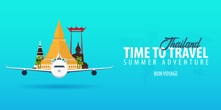 Thailand. Time to Travel. Banner with airplane. Vector illustration