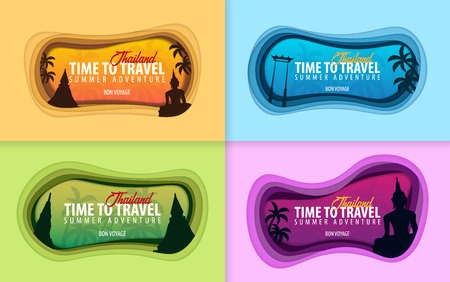 Set of Thailand banners. Time to travel. Paper cut and craft style. Vector illustration