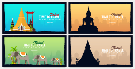 Thailand. Time to Travel set of banners. Vector illustration 일러스트