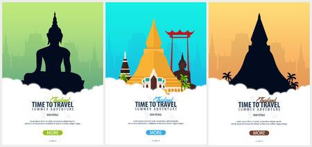 Thaïlande. Ensemble de bannières Time to Travel. Illustration vectorielle Vecteurs