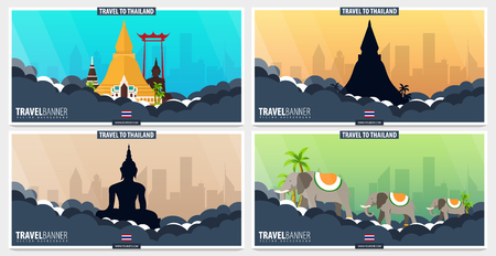 Thailand. Time to Travel set of banners. Vector illustration
