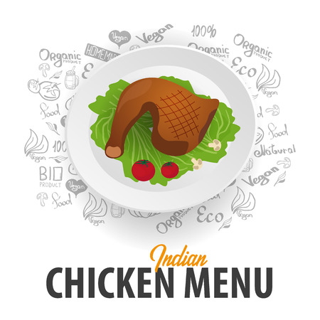 Indian Chicken Menu. Chicken Dish. Banner with hand-draw doodle elements on the background. Vector illustration