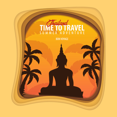 Thailand banner. Time to travel. Paper cut and craft style. Vector illustration