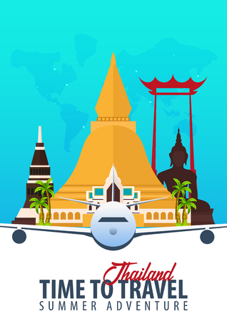 Thailand. Time to Travel. Banner with airplane. Vector illustration Иллюстрация