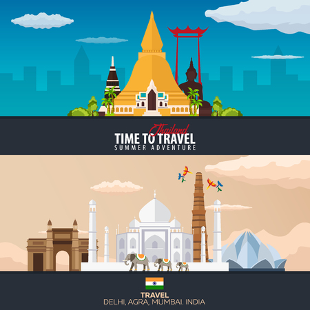Thailand and India. Travel banners. Vector illustration