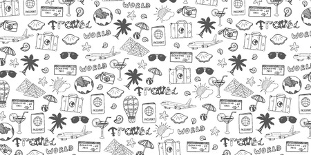 Travel hand-draw doodle backround. Tourism and summer sketch with travelling elements. Vector illustration