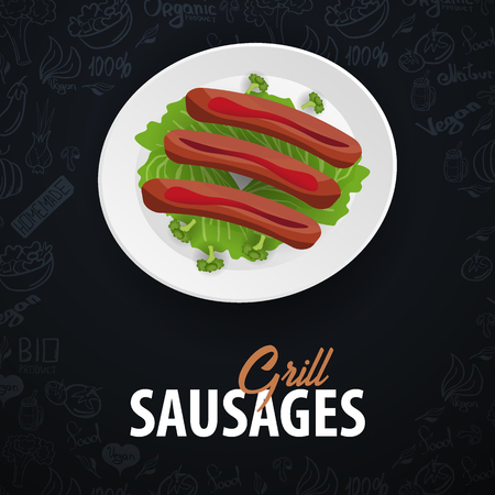 Grill Sausages Dish. Banner with hand-draw doodle elements on the background. Vector illustration Vectores