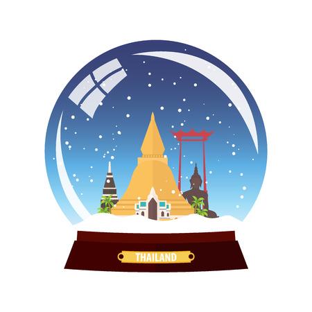 Snow globe city. Thailand in Snow Globe. Winter travel vector illustration