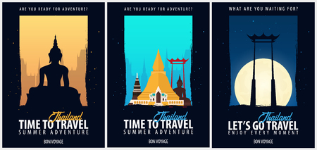 Thailand. Time to Travel set of banners. Vector illustration Иллюстрация