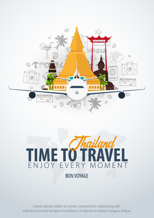 Thailand. Time to Travel. Banner with airplane and doodle elements on background. Vector illustration Иллюстрация