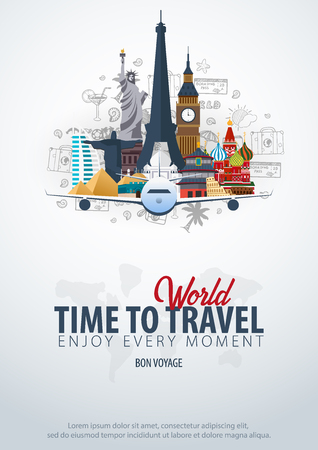 Travel Around the World. Time to Travel. Banner with airplane and hand-draw doodles on the background. Vector Illustration
