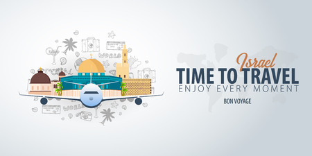 Travel to Israel. Time to Travel. Banner with airplane and hand-draw doodles on the background. Vector Illustration.