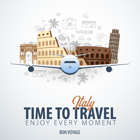 Travel to Italy. Time to Travel. Banner with airplane and hand-draw doodles on the background. Vector Illustration.