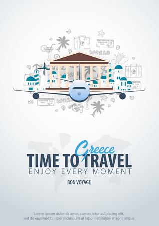 Travel to Greece. Time to Travel. Banner with airplane and hand-draw doodles on the background. Vector Illustration.