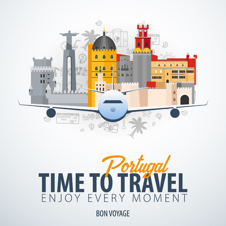 Travel to Portugal. Time to Travel. Banner with airplane and hand-draw doodles on the background. Vector Illustration.