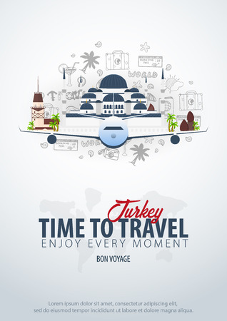 Travel to Turkey. Time to Travel. Banner with airplane and hand-draw doodles on the background. Vector Illustration.