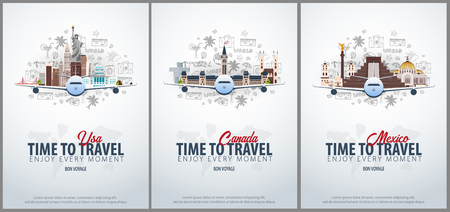 Travel to USA, Canada and Mexico. Time to Travel. Banner with airplane and hand-draw doodles on the background. Vector Illustration