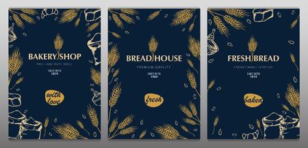 Set Bäckereihintergründe mit Weizen. Lineare Grafik. Brot-Banner-Sammlung. Brot Haus. Vektor-Illustration. Vektorgrafik