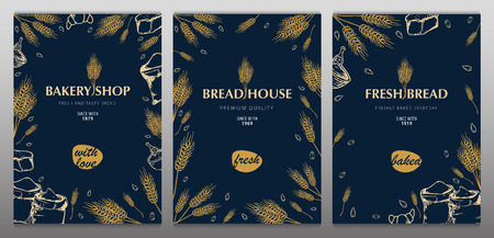 Set of Bakery backgrounds with wheats. Linear graphic. Bread banner collection. Bread house. Vector illustration.