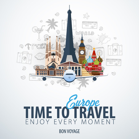 Travel to Europe. Time to Travel. Banner with airplane and hand-draw doodles on the background. Vector Illustration Ilustrace