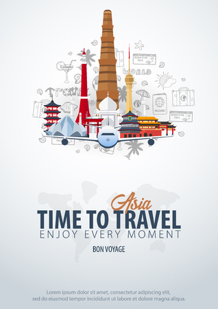 Travel to Asia. Time to Travel. Banner with airplane and hand-draw doodles on the background. Vector Illustration
