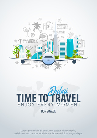 Travel to Dubai, UAE. Time to Travel. Banner with airplane and hand-draw doodles on the background. Vector Illustration