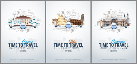 Travel to Greece, Italy and Germany. Time to Travel. Banner with airplane and hand-draw doodles on the background. Vector Illustration