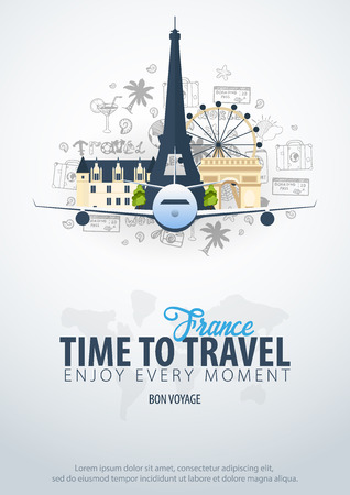Travel to France. Time to Travel. Banner with airplane and hand-draw doodles on the background. Vector Illustration Çizim