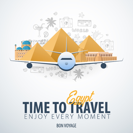 Travel to Egypt. Time to Travel. Banner with airplane and hand-draw doodles on the background. Vector Illustration Banque d'images - 125053252