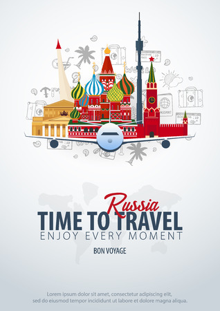 Travel to Russia. Time to Travel. Banner with airplane and hand-draw doodles on the background. Vector Illustration