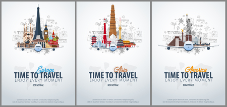 Travel to Europe, Asia and America. Time to Travel. Banner with airplane and hand-draw doodles on the background. Vector Illustration Ilustrace
