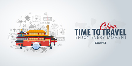 Travel to China. Time to Travel. Banner with airplane and hand-draw doodles on the background. Vector Illustration Ilustrace