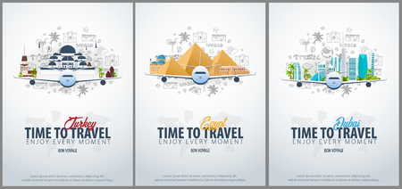 Voyage en Turquie, en Egypte et à Dubaï. Le temps de voyager. Bannière avec avion et gribouillis dessinés à la main sur l'arrière-plan. Illustration vectorielle.