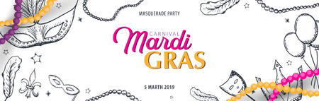 Mardi gras carnival party. Masquerade. Fat tuesday, festival. Vector illustration. Illustration