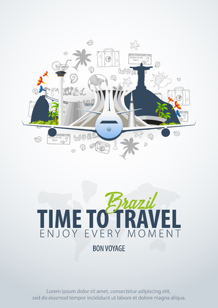 Travel to Brazil. Time to Travel. Banner with airplane and hand-draw doodles on the background. Vector Illustration