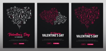 Valentines Day banners with doodle background. 14 February. Vector Illustration