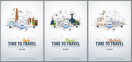 Travel to India, Brazil and Australia. Time to Travel. Banner with airplane and hand-draw doodles on the background. Vector Illustration