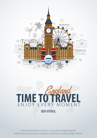 Travel to England. Time to Travel. Banner with airplane and hand-draw doodles on the background. Vector Illustration Ilustracja