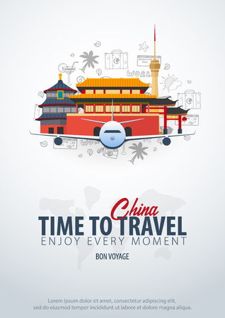 Travel to China. Time to Travel. Banner with airplane and hand-draw doodles on the background. Vector Illustration Çizim