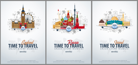 Travel to England, Russia and Israel. Time to Travel. Banner with airplane and hand-draw doodles on the background. Vector Illustration Ilustracja