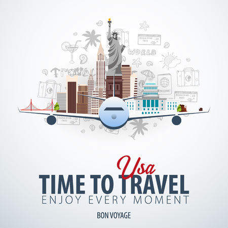 Travel to USA. Time to Travel. Banner with airplane and hand-draw doodles on the background. Vector Illustration