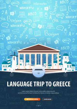 Language trip, tour, travel to Greece. Learning Languages. Vector illustration with hand-draw doodle elements on the background
