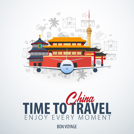 Travel to China. Time to Travel. Banner with airplane and hand-draw doodles on the background. Vector Illustration Stock Illustratie