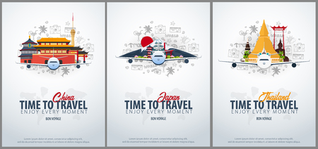 Travel to China, Japan and Thailand. Time to Travel. Banner with airplane and hand-draw doodles on the background. Vector Illustration