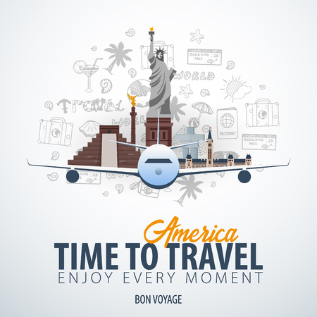 Travel to America. Time to Travel. Banner with airplane and hand-draw doodles on the background. Vector Illustration Ilustracja